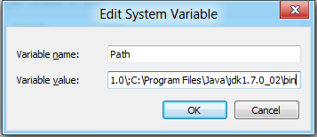Type a ; followed by your path, no spaces. http://www.java.com/en/download/
